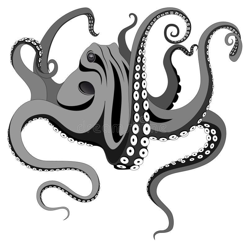 章鱼纹身花刺 皇族释放例证