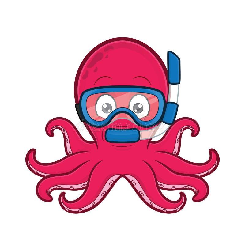 章鱼轻潜水员 皇族释放例证
