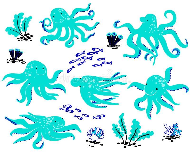 章鱼集合 向量例证