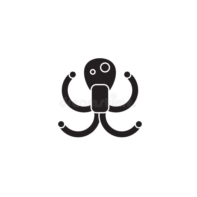 章鱼黑色传染媒介概念象 章鱼平的例证,标志 库存例证