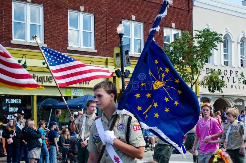 侦察员和印第安纳陈述旗子 免版税图库摄影