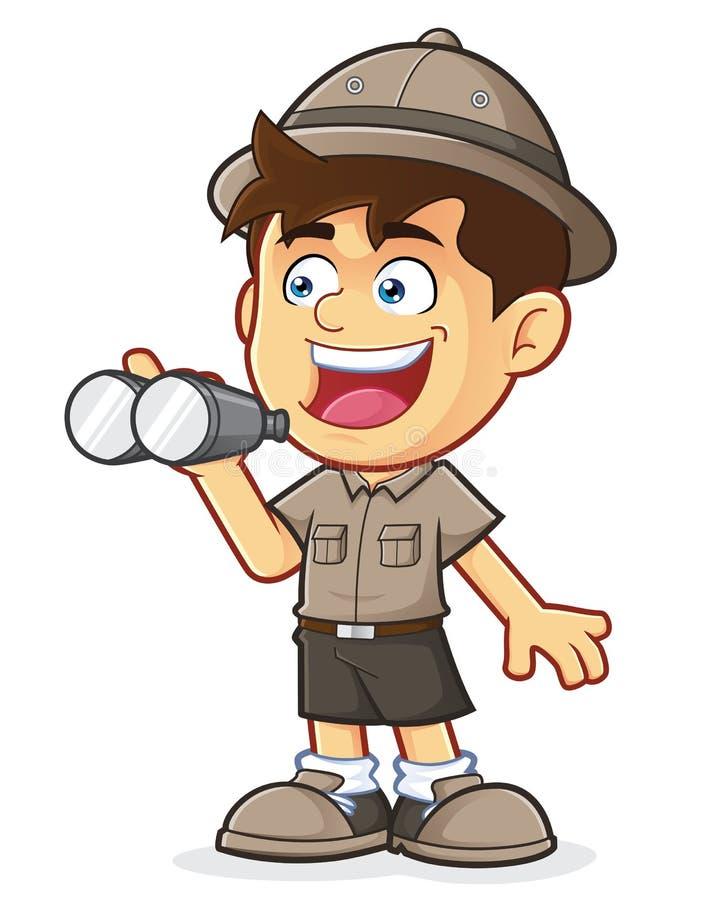 童子军或探险家男孩有双筒望远镜的 向量例证