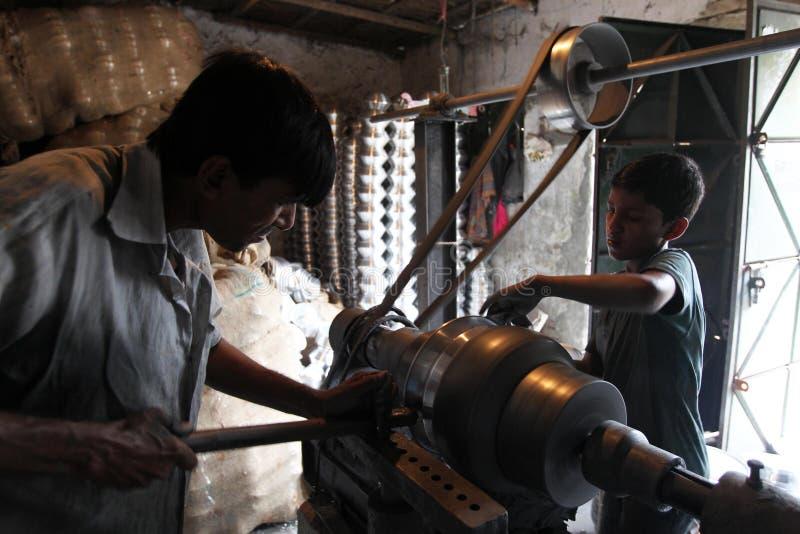 童工在孟加拉国 免版税库存图片