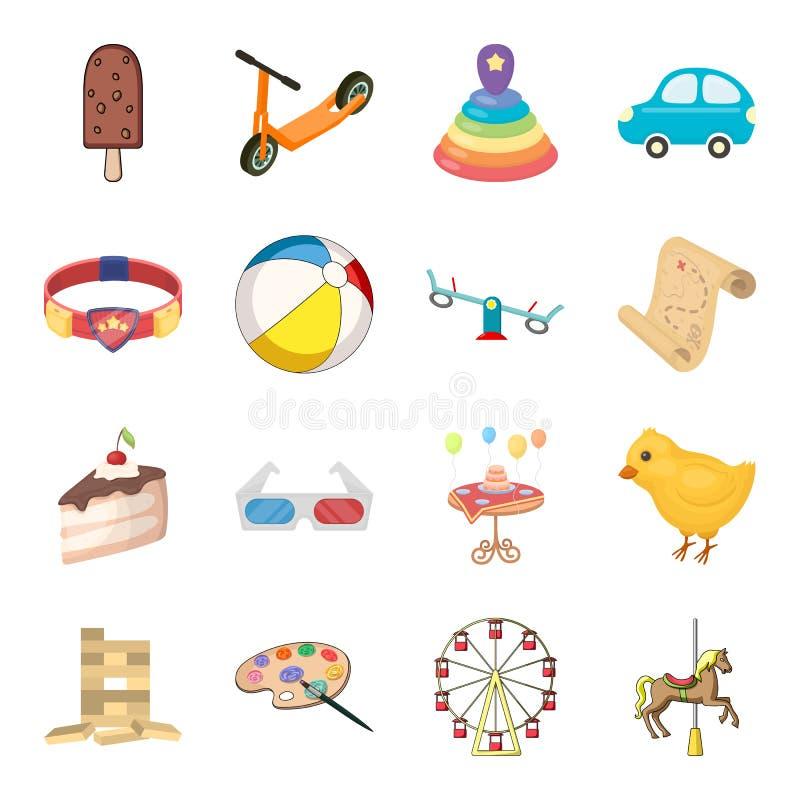 童年、娱乐和比赛,点心,玩具 在动画片样式的婴孩娱乐集合汇集象导航标志 皇族释放例证
