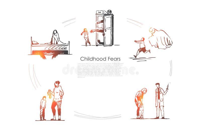 童年恐惧-孩子害怕鬼魂、医生、狼人和传送带处罚传染媒介概念集合 库存例证