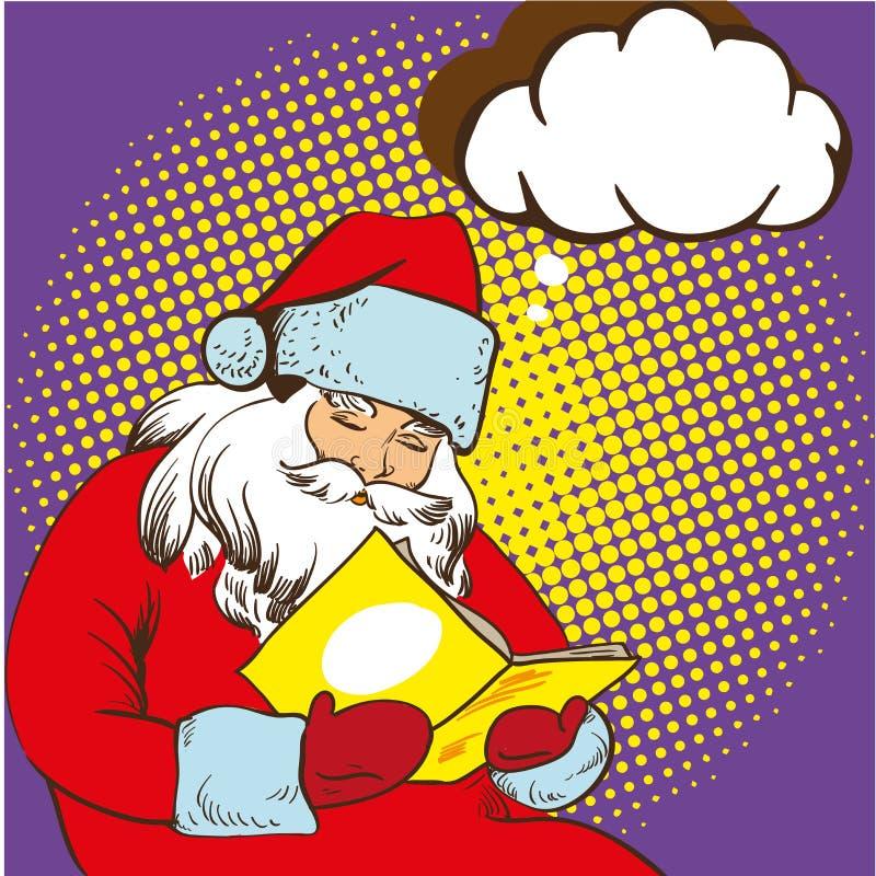 读童话书的圣诞老人 在可笑的流行艺术样式的传染媒介例证 圣诞节概念海报 皇族释放例证