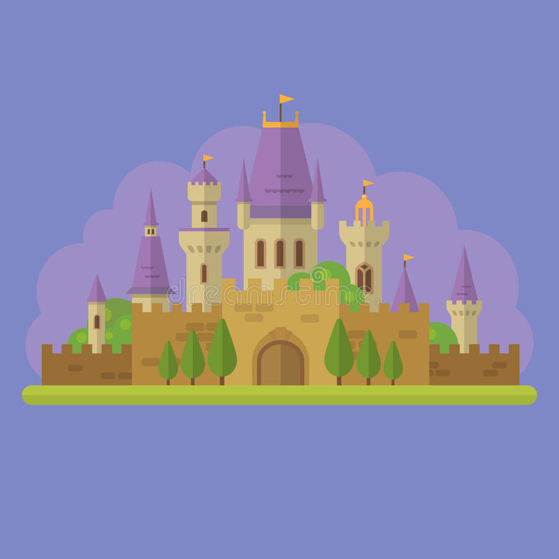 童话公主城堡平的例证 库存例证