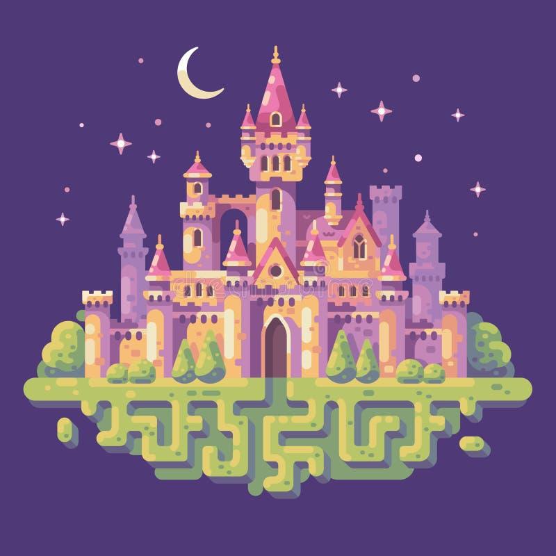 童话城堡夜场面平的例证 鸟幻想横向光魔术天空星期日日落 向量例证