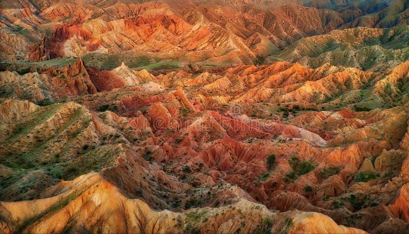 童话峡谷Skazka在吉尔吉斯斯坦,采取在2018年8月 库存图片