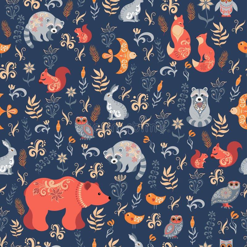 童话森林Fox、熊、浣熊、猫头鹰、兔子、花和草本在蓝色背景 库存例证