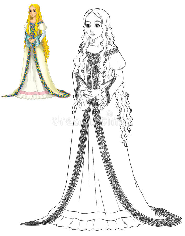 童话漫画人物-公主 库存例证