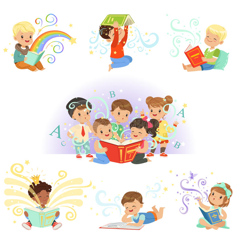 读童话的逗人喜爱的小孩被设置 儿童的梦想世界五颜六色的传染媒介例证 皇族释放例证