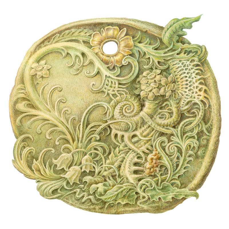 童话石硬币(护身符)绘画 隔绝在白色Lo 皇族释放例证