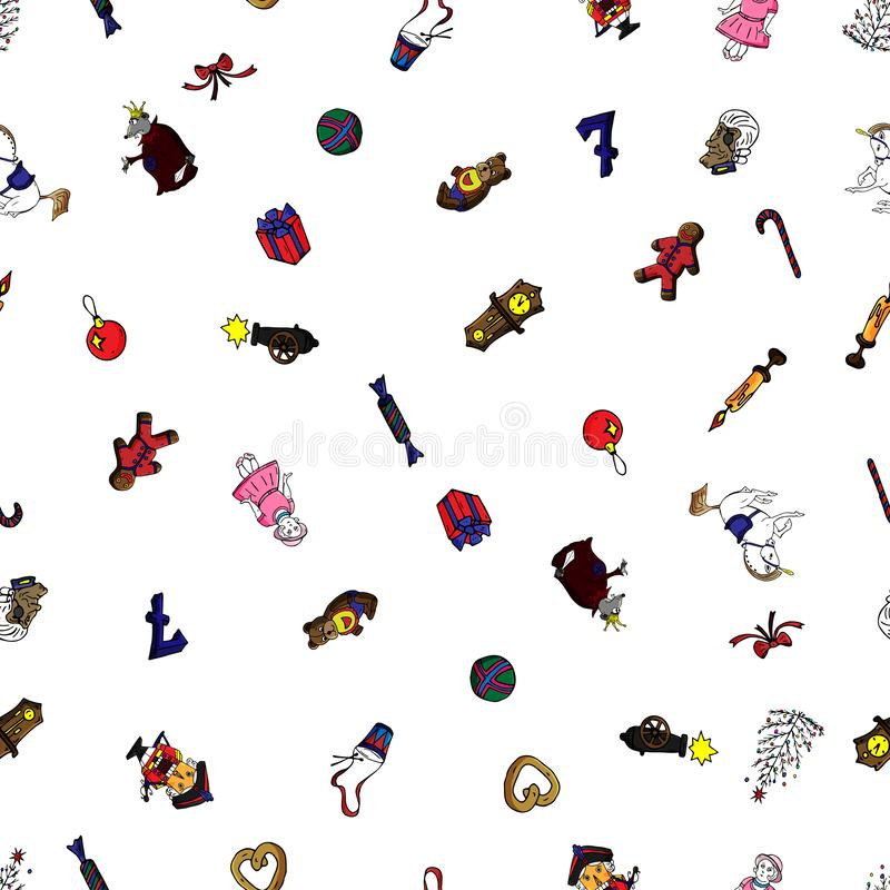 童话胡桃钳的集合无缝的样式动画片圣诞节字符 能为网页背景,积土使用 向量例证