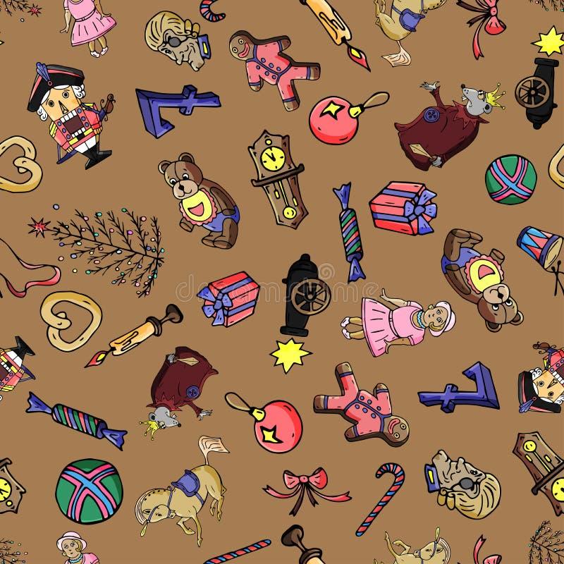 童话胡桃钳的集合无缝的样式动画片圣诞节字符 能为网页背景,积土使用 库存例证