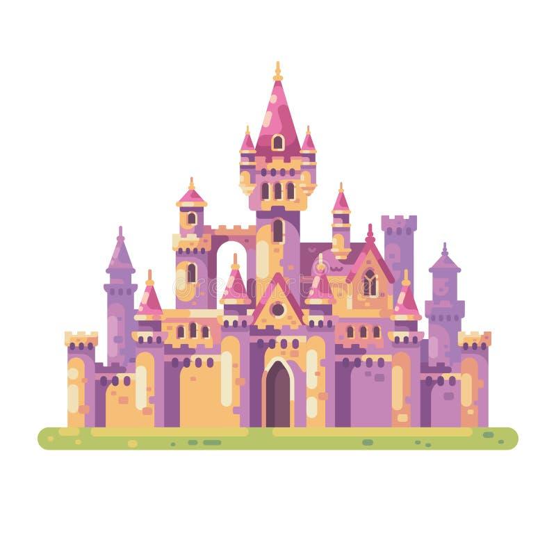 童话Castle公主 中世纪宫殿平的传染媒介例证 向量例证