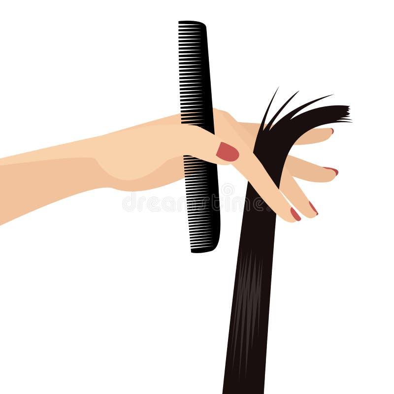 端庄的妇女手藏品黑色头发美发师发廊平的传染媒介例证梳子和锁在白色隔绝的 向量例证