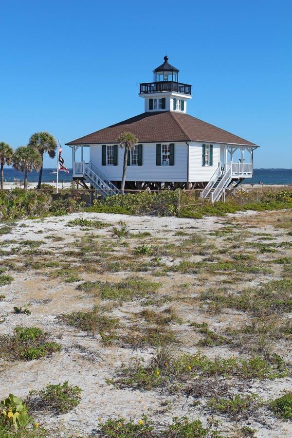端起在Gasparilla海岛, vertic的佛罗里达上的Boca重创的灯塔 免版税库存图片
