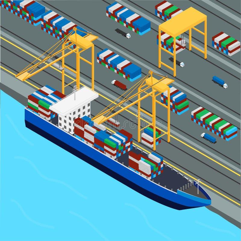 端起,端起起重机装载货船容器 向量例证