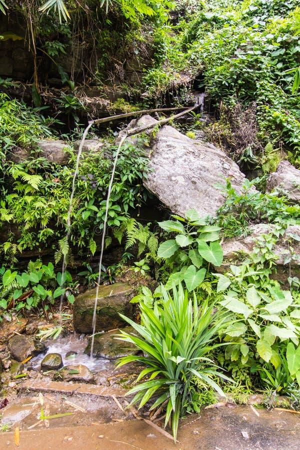 竹喷泉捉住水滴水,泰国的乡下 免版税库存照片