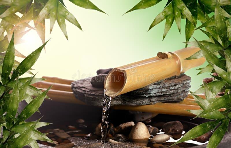 竹喷泉禅宗 免版税库存照片