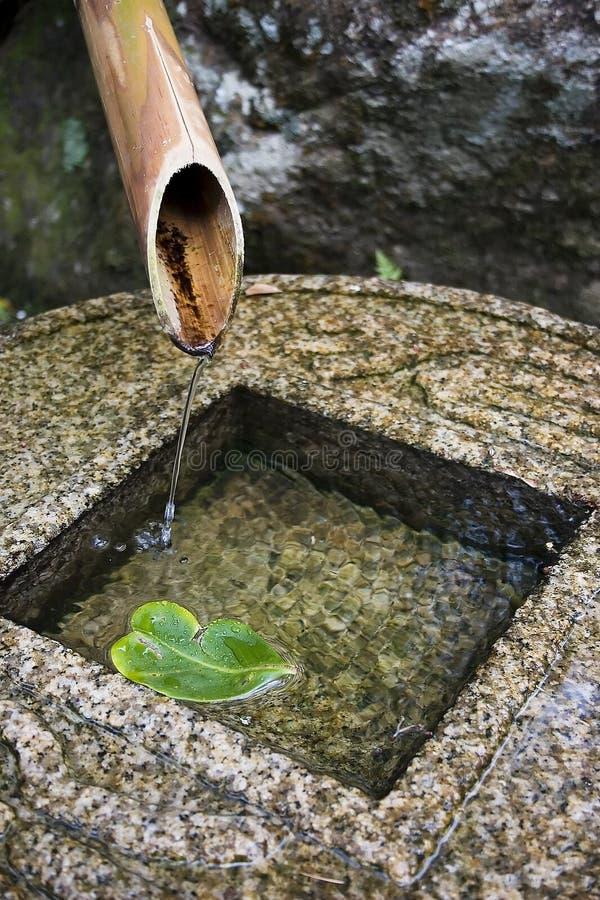 竹喷泉 免版税图库摄影
