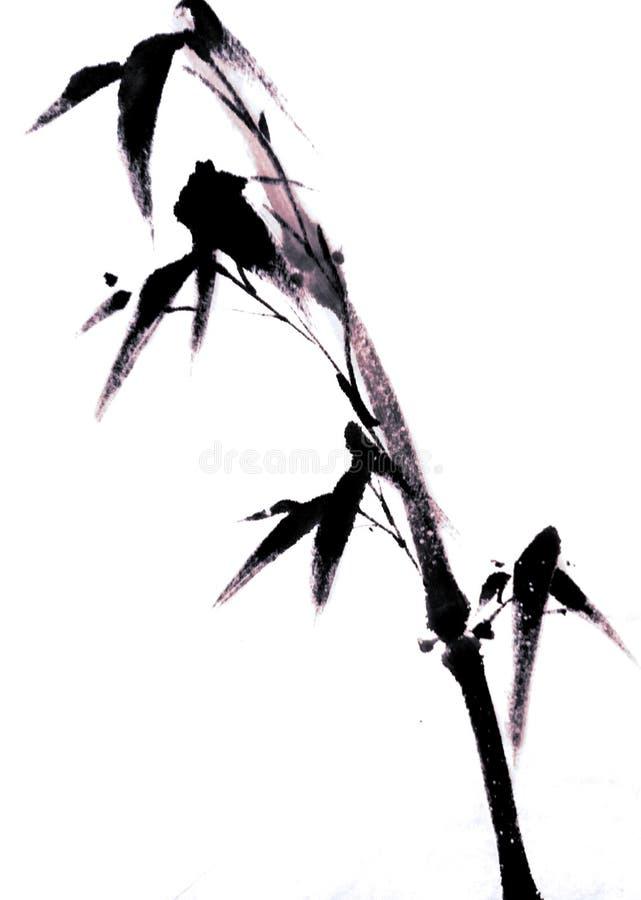 竹子中国或日本墨水绘画  皇族释放例证