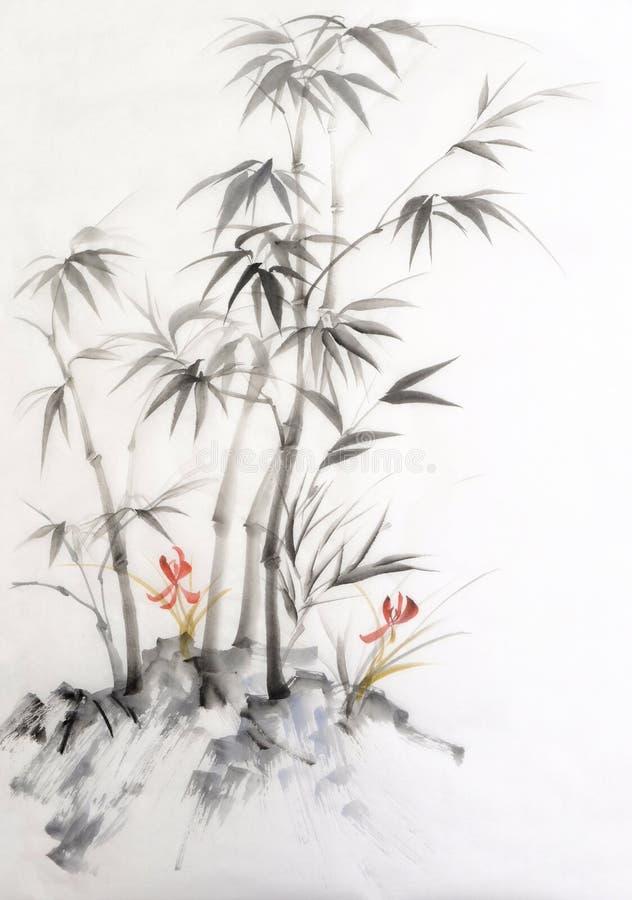 竹子和兰花水彩绘画  向量例证