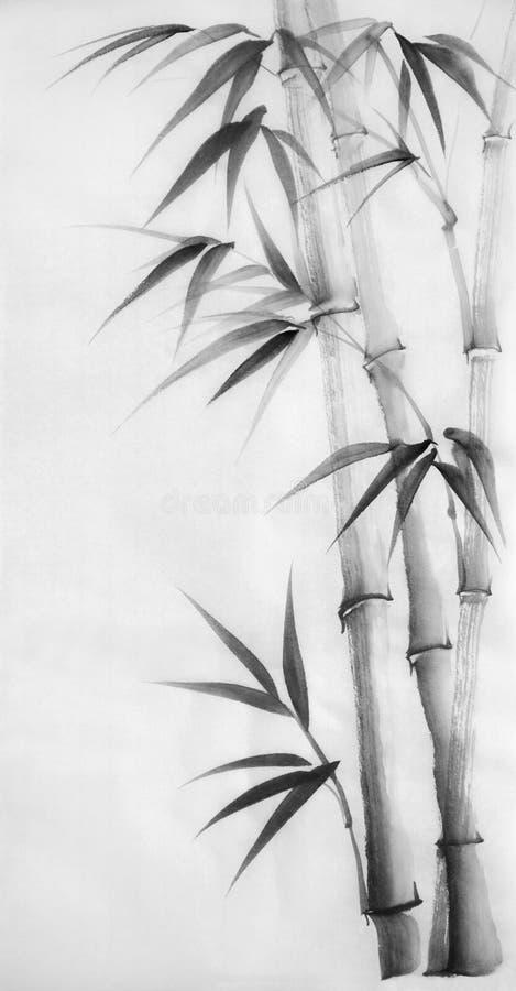 竹子水彩绘画  库存例证