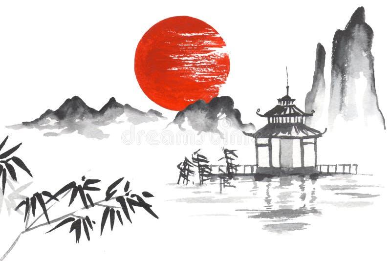 竹日本传统日本绘的Sumi-e艺术太阳山的寺庙 向量例证