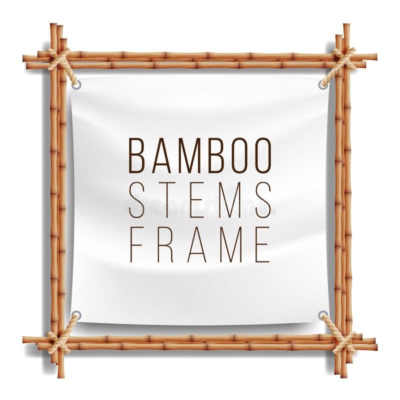 竹框架模板传染媒介 好为热带牌 文本的空的帆布 可实现轻快优雅的例证 库存例证