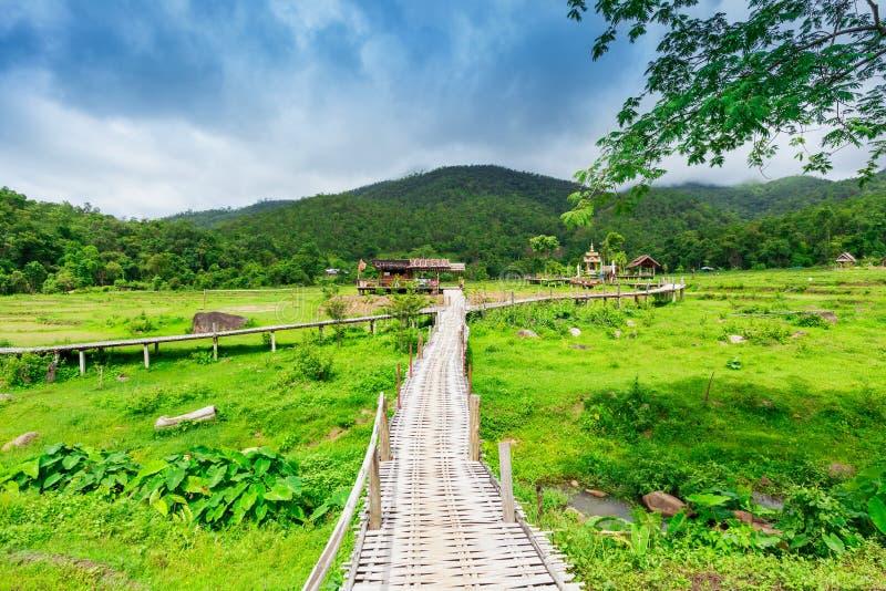 竹桥梁恩赐在Pai的Ko如此Ku;泰国 图库摄影
