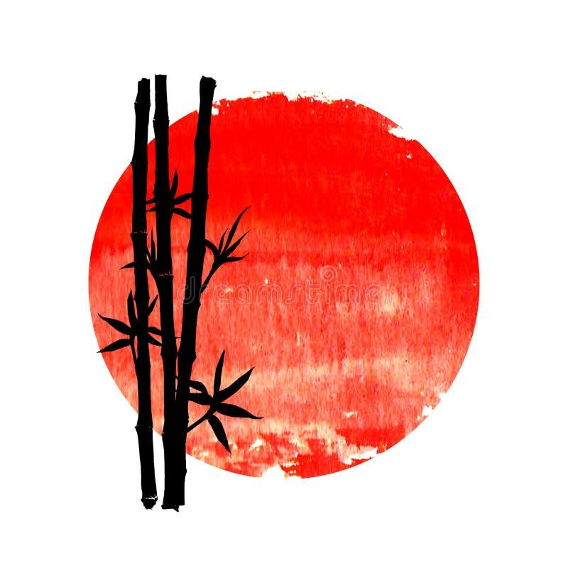 竹植物黑剪影大红色太阳的 皇族释放例证