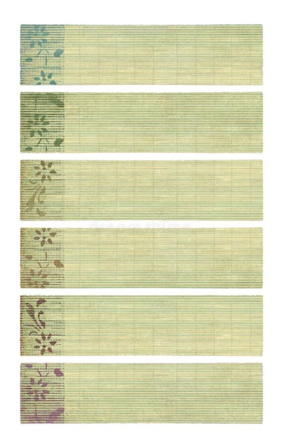 竹横幅色的花墨水纸张打印 库存图片