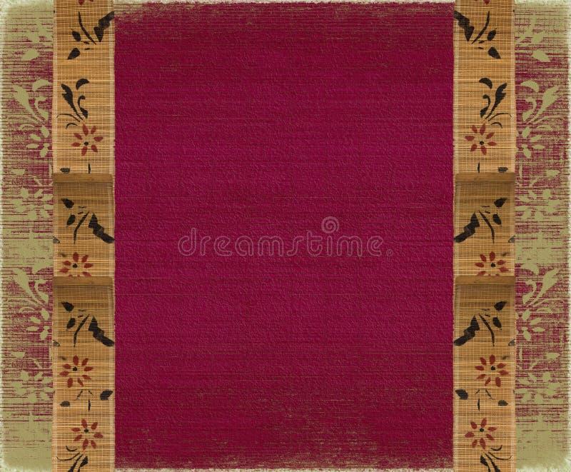 竹横幅花卉框架粉红色天鹅绒 免版税库存图片