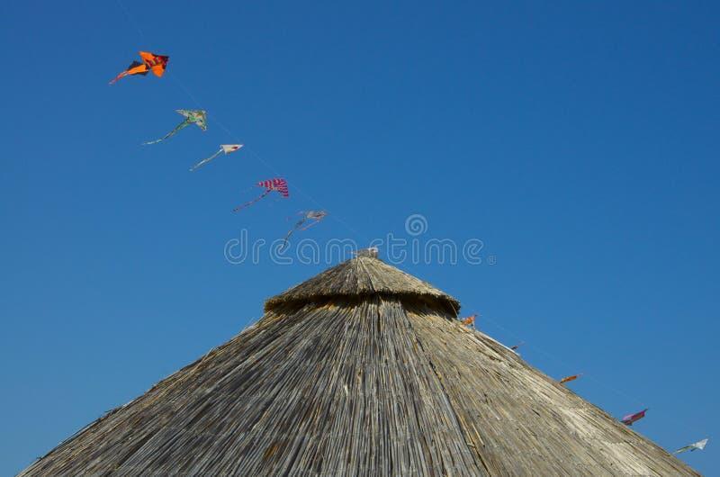 竹沙滩伞和风筝在蓝天 免版税库存图片