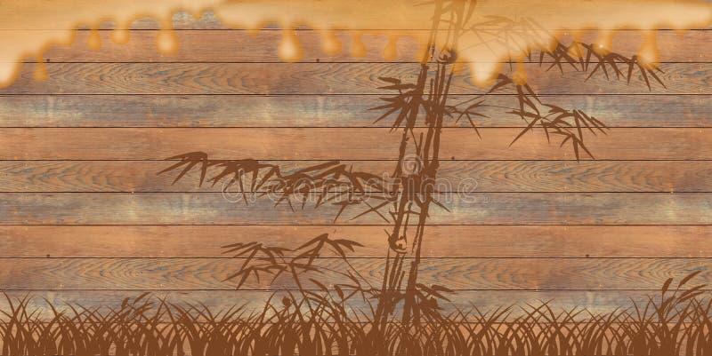 竹流蜂蜜木头 向量例证