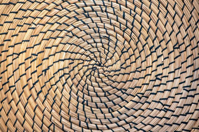 竹碗碟衬垫或圆的placemat纹理特写镜头 r 库存图片