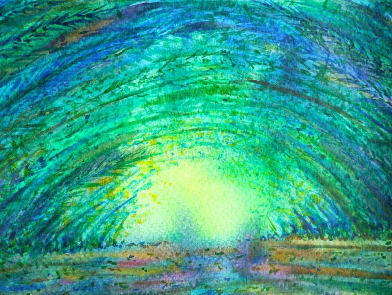 竹绿色森林曲拱隧道太阳照明设备水彩绘画 库存例证