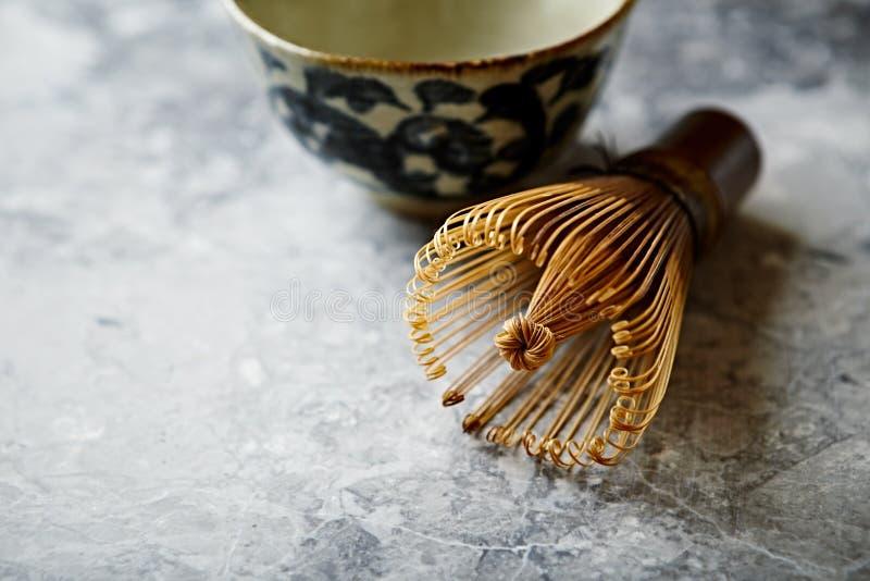 竹茶为matcha茶扫 库存图片
