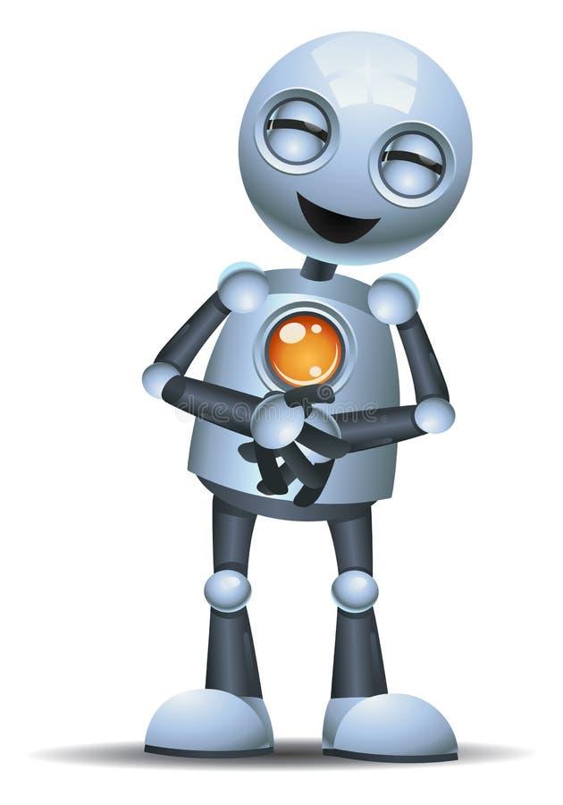 笑一点的机器人握胃 库存例证