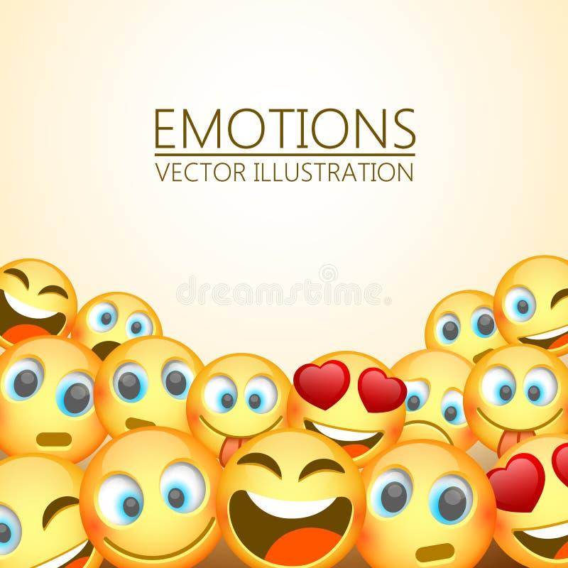 笑三Emoji,情感背景,传染媒介例证的现代黄色 向量例证