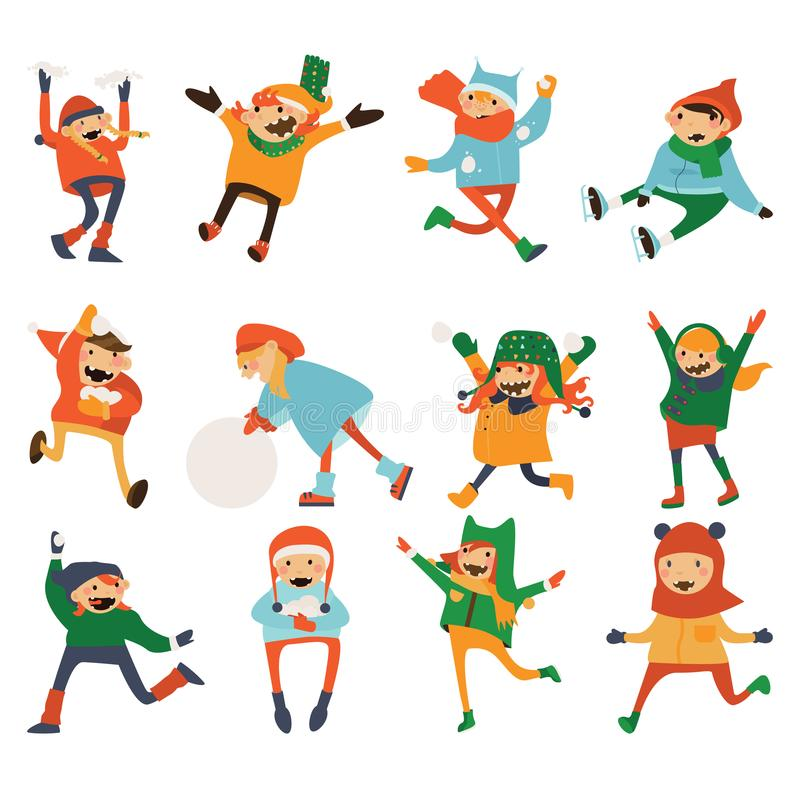 笑各种各样的孩子使用和隔绝在白色 与雪的可爱的漫画人物,雪球,在温暖的帽子和衣裳 运行 库存例证