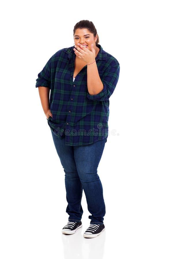 超重妇女笑 免版税库存照片