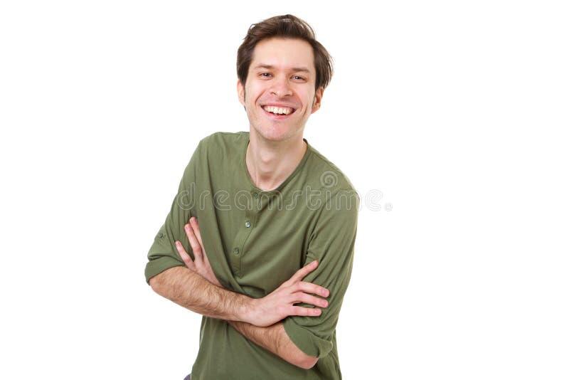 笑和站立与胳膊的偶然人横渡 免版税库存图片