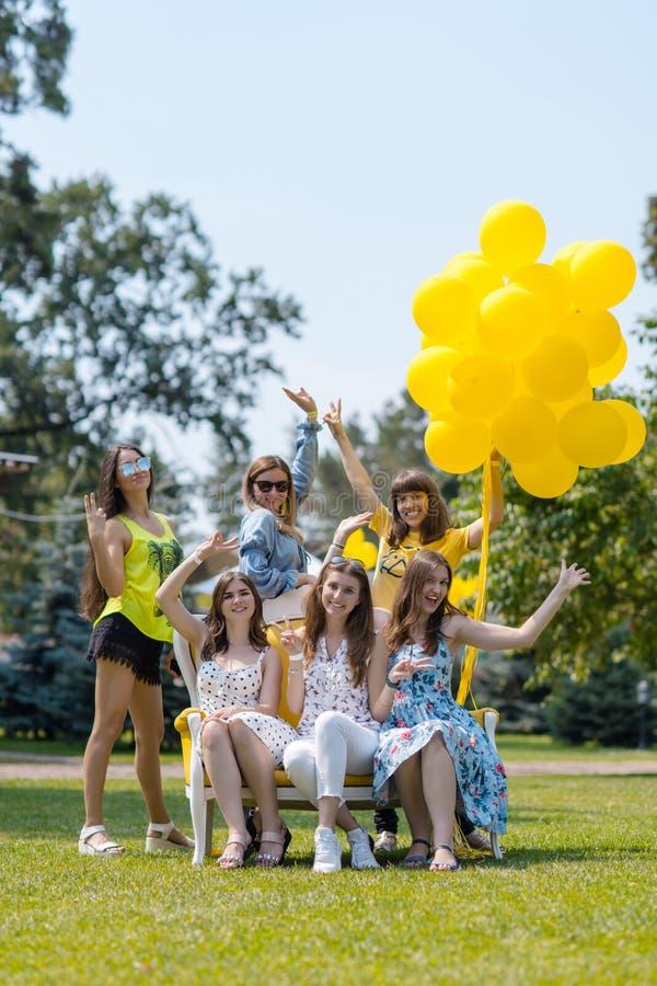 笑在草坪的六个美丽的女孩 免版税库存照片