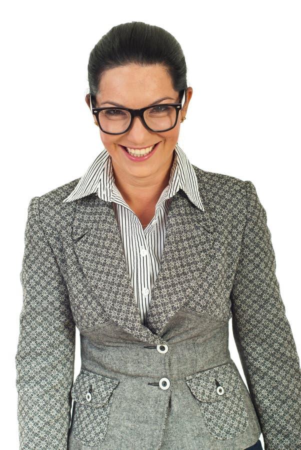 笑妇女的企业镜片 库存照片