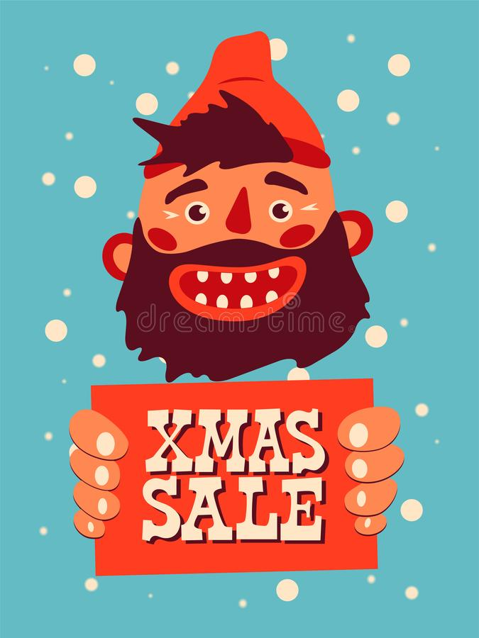 笑有胡子的人的动画片拿着与题字的一个标志 葡萄酒圣诞节销售海报设计 也corel凹道例证向量 皇族释放例证