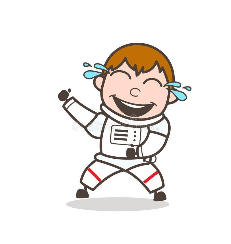 笑滑稽的太空人传染媒介例证的动画片 向量例证