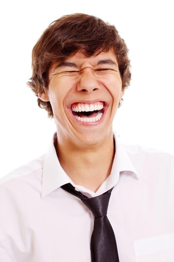 笑的人纵向年轻人 免版税库存照片